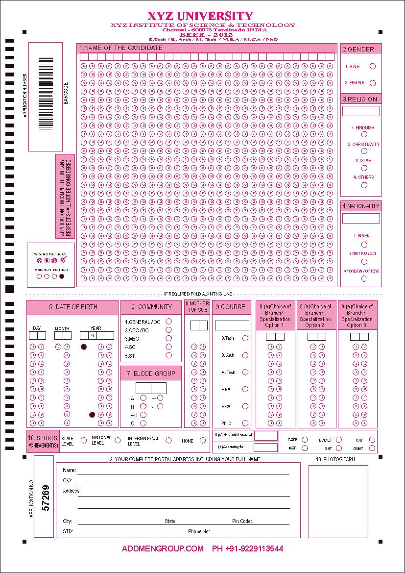 OMR Sheet Design