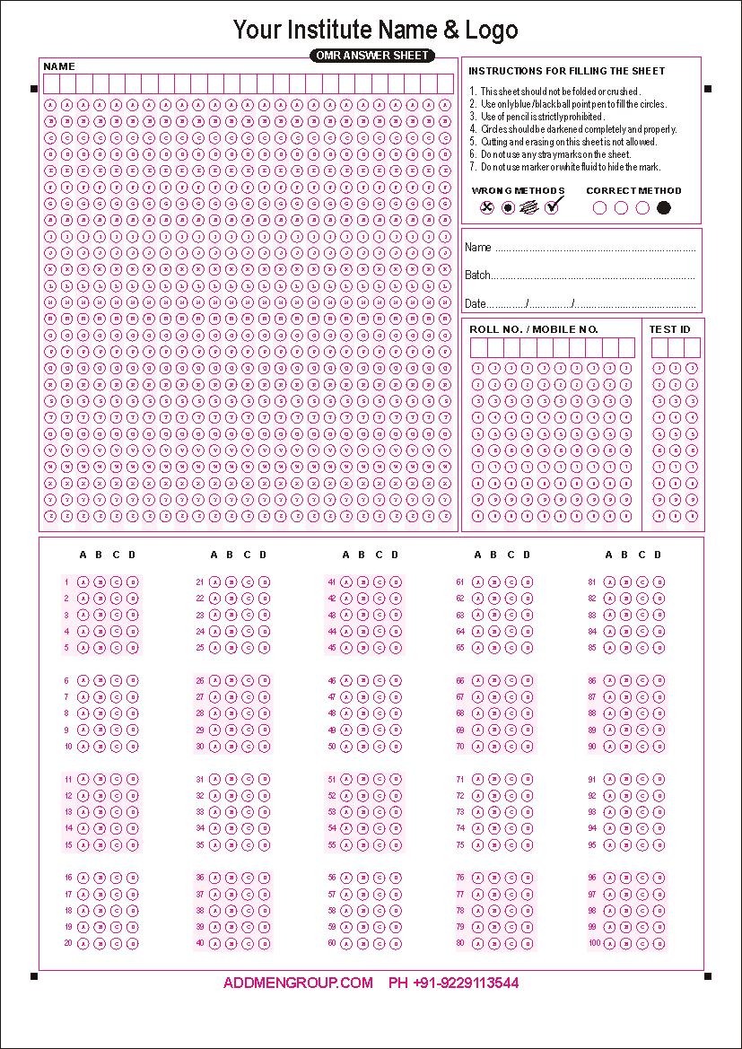 Design Of Omr Answer Sheet
